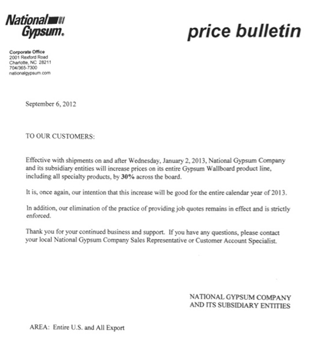 price increase letter to customers template major drywall price increase coming construction citizen 16724